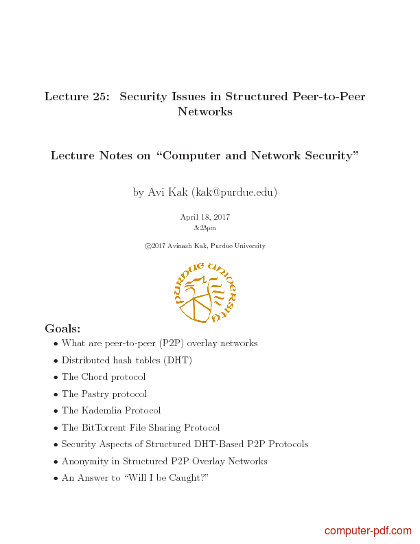 Tutorial Security Issues in Structured Peer-to-Peer Networks 1