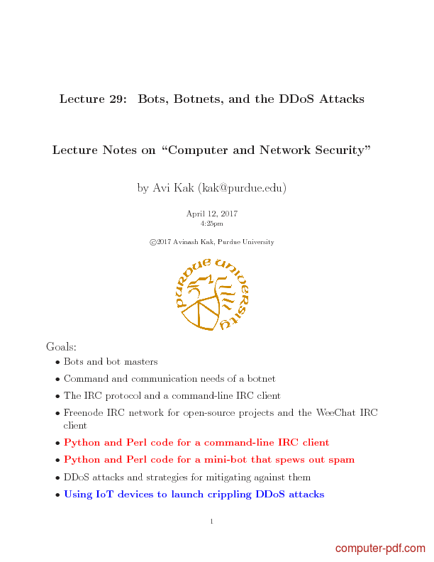 PDF] Bots, Botnets, and the DDoS Attacks free tutorial for Advanced