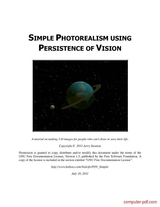 Tutorial Simple Photorealism using persistence of vision 1