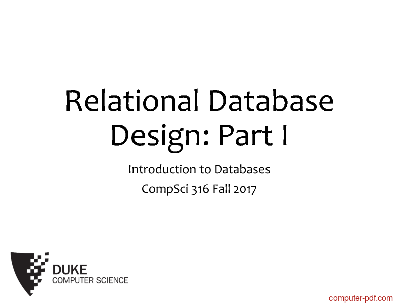 Tutorial Databases Relational Database Design 1