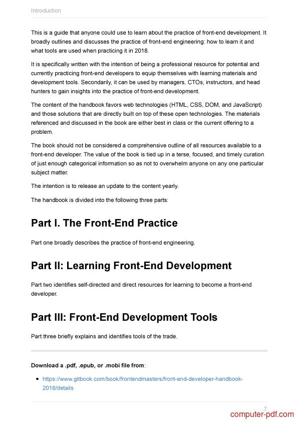 course Front-end Developer Handbook 2018