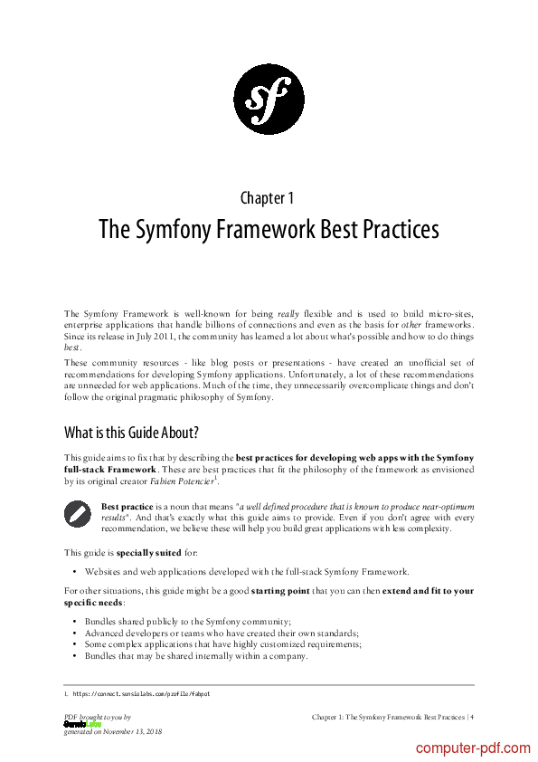 course Symfony The Best Practices Book