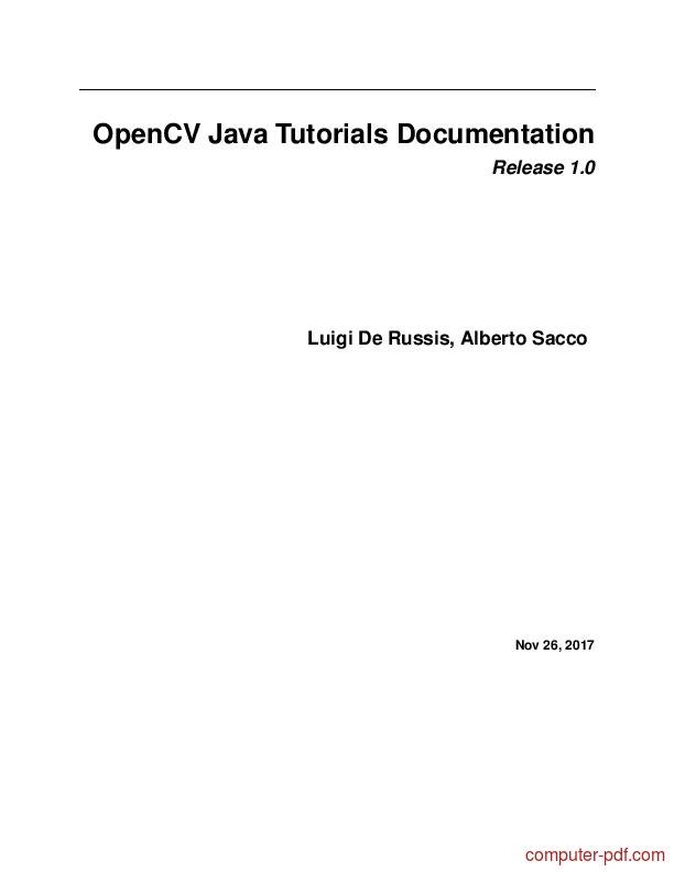 PDF] OpenCV Java s Documentation free tutorial for Beginners