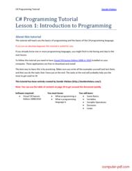 Tutorial C# Programming Tutorial