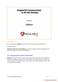 course AngularJS Fundamentals in 60 Minutes