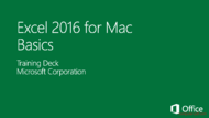 Tutorial Excel 2016 for Mac Basics