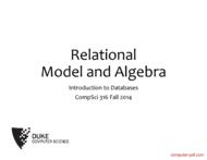 Tutorial Relational Model and Algebra