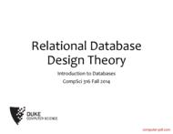Tutorial Relational Database Design Theory