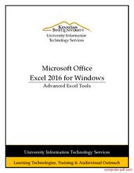 Tutorial Excel 2016 - Advanced Excel Tools