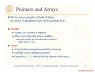 course C Pointers and Arrays
