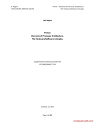 Tutorial Elements of Processor (CPU) Architecture