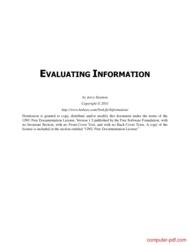 Tutorial Evaluating Information