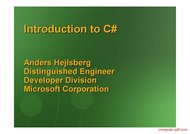 Tutorial Introduction to C#