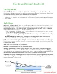 course How to use Microsoft Excel 2007