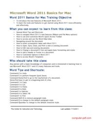 Tutorial Microsoft Word 2011 Basics for Mac