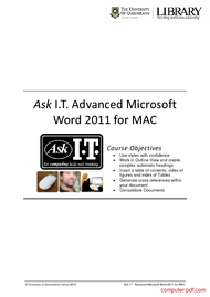 Tutorial Advanced Microsoft  Word 2011 for MAC