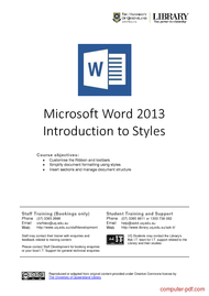 Tutorial Microsoft Word 2013 Introduction to Styles