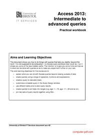 Tutorial Access 2013: Intermediate to  advanced queries