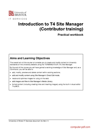 Tutorial Introduction to T4 Site Manager