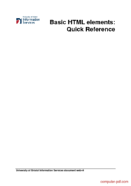 Tutorial Basic HTML elements: Quick Reference