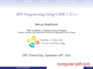 Tutorial GPU Programming Using CUDA C/C++