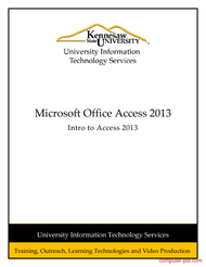 Tutorial Introduction to Microsoft Access 2013
