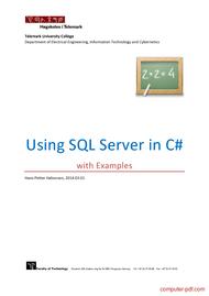 Tutorial UsingSQLServerinC# withExamples