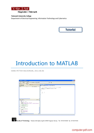 Tutorial Introduction to MATLAB