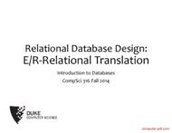 Tutorial Relational Database Design: E/R-Relational Translation
