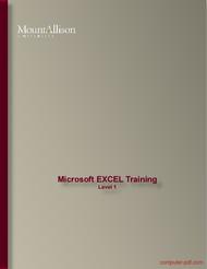 Tutorial Microsoft EXCEL Training Level 1