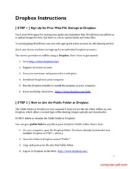 Tutorial Dropbox file storage Instructions