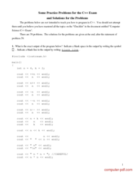 Tutorial Practice Problems for the C++ and Solutions