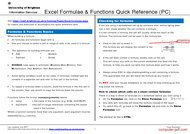 Tutorial Excel Formula & Functions Quick Reference