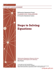 Tutorial Steps to Solving Equations