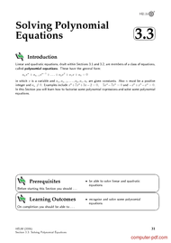 Tutorial Solving Polynomial Equations