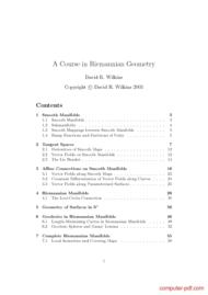 Tutorial A Course in Riemannian Geometry
