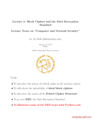 Tutorial Block Ciphers and the Data Encryption