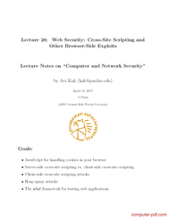 Tutorial Web Security: Cross-Site Scripting and Other Browser-Side Exploits