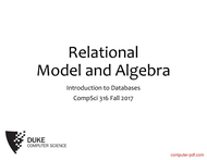 Tutorial Databases Relational Model and Algebra