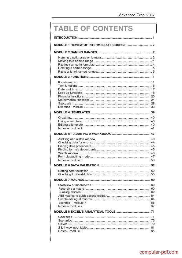 course Microsoft Excel 2007 Advanced
