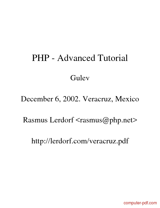 Tutorial PHP - Advanced Tutorial