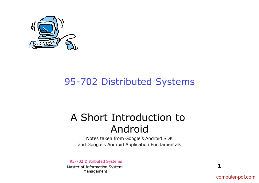 Tutorial A Short Introduction to Android 1