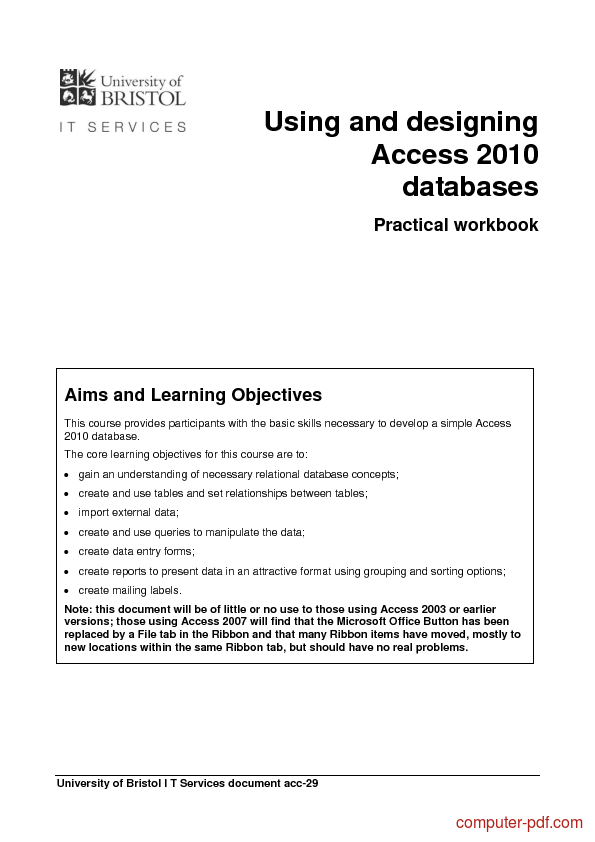 Tutorial Using and designing Access 2010 databases