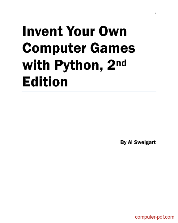 Tutorial Your Own Computer Games with Python