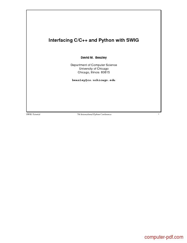 Tutorial Interfacing C/C++ and Python with SWIG