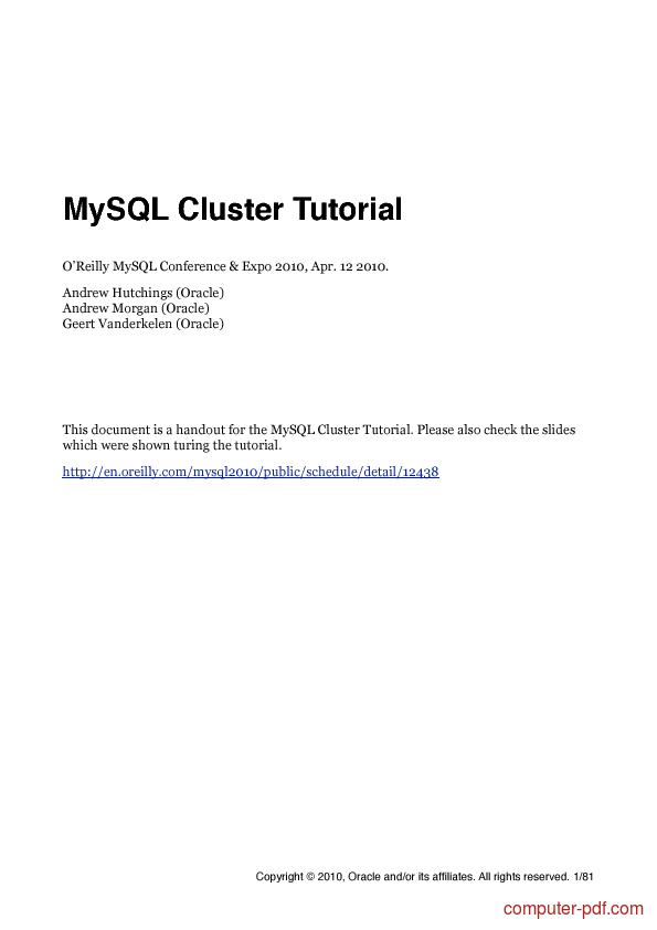 Tutorial MySQL Cluster Tutorial 1