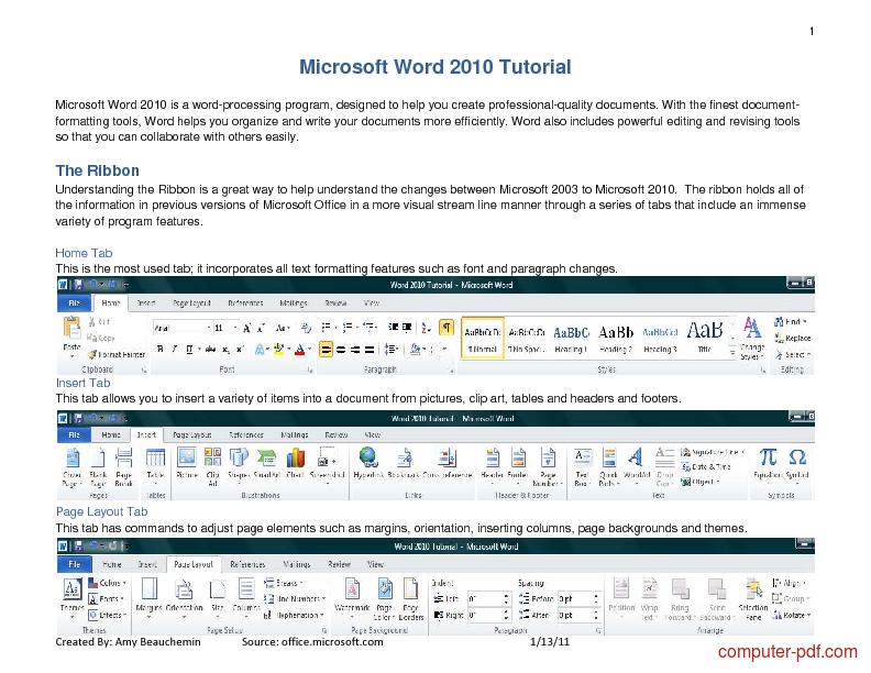 Tutorial Microsoft Word 2010 Tutorial 1