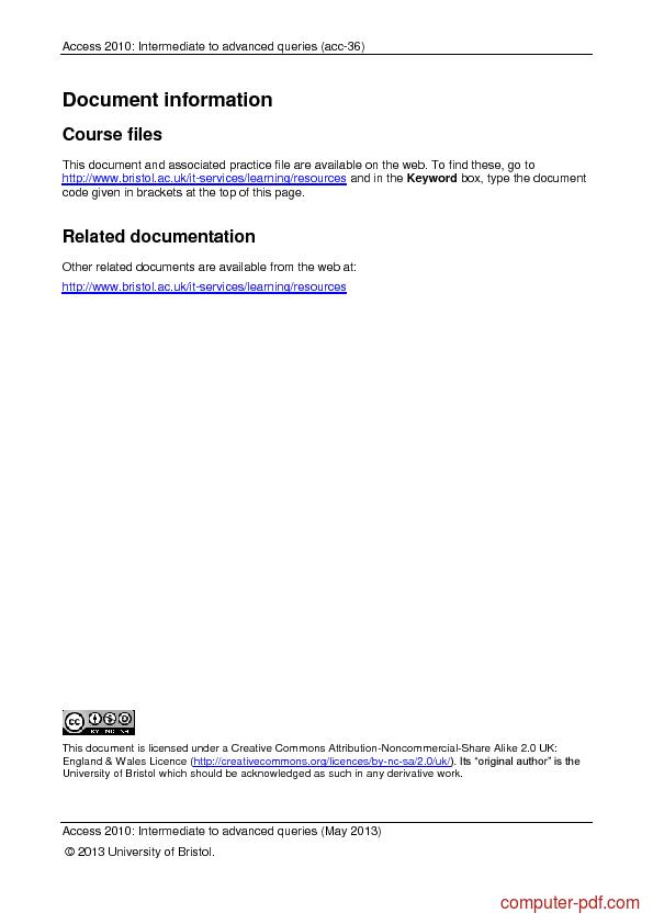 Tutorial Access 2013: Intermediate to advanced queries 2
