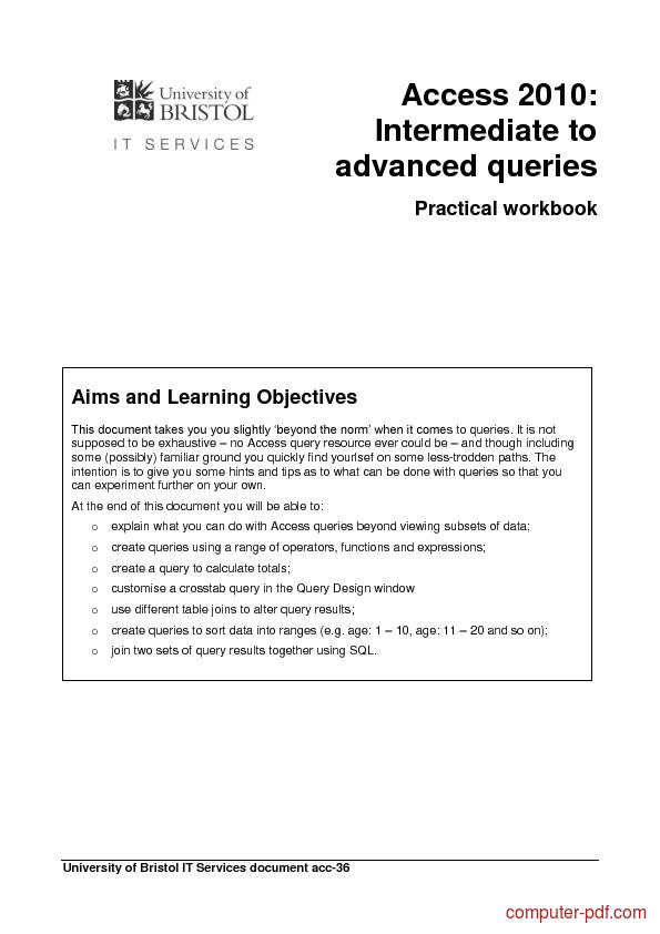 Tutorial Access 2013: Intermediate to advanced queries 1