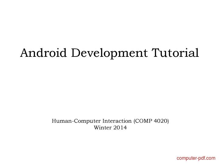 Tutorial Android Development Tutorial
